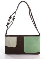 Furla Dark Brown White Green Leather Shoulder Handbag