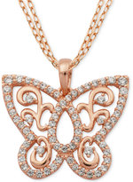 Giani Bernini Cubic Zirconia Butterfly Pendant Necklace in 18k Rose Gold-Plated Sterling Silver, Only at Macy's