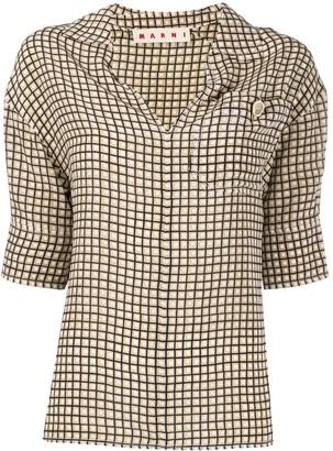 Marni 3/4 Sleeves Grid Shirt