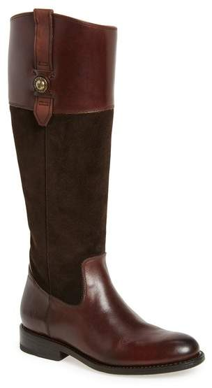 Frye Jayden Button Tall Leather & Suede Boot