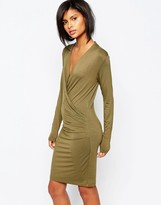 Vila Wrap Front Body-Conscious Dress