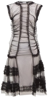 Molly Goddard Moss Sheer Ruffled Tulle Dress - Womens - Black