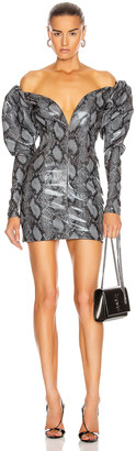 LaQuan Smith Mini Dress in Charcoal Snake | FWRD