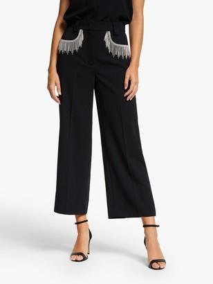 Marella Papilla Embellished Wide Leg Trousers, Black