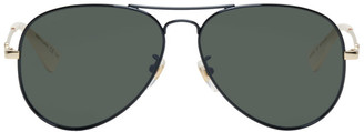 Gucci Black and Grey Aviator Sunglasses