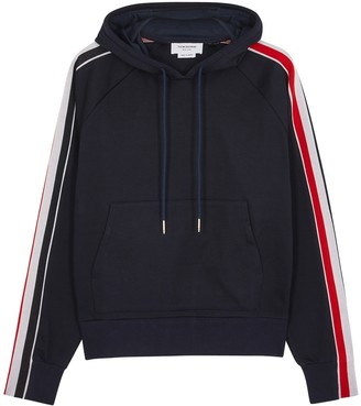 Thom Browne Navy hooded cotton sweatshirt