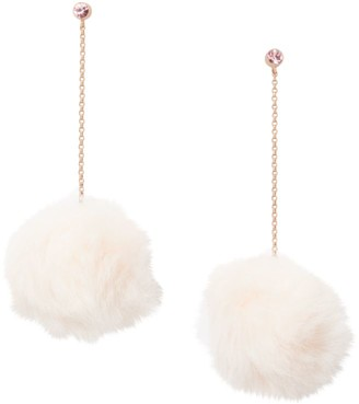 Kate Spade 12K Goldplated Chain-Drop Faux-Fur Pom-Pom Earrings