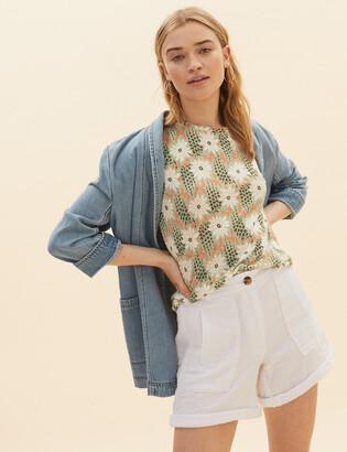 Marks and Spencer Floral Print Regular Fit T-Shirt