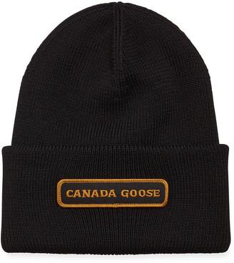 Canada Goose Men's Emblem Rib-Knit Wool Beanie Hat