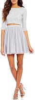 As U Wish Glitter Top Mesh Skirt Two-Piece Dress