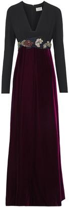 Lanvin Crepe-paneled Crystal-embellished Velvet Gown
