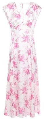 Les Rêveries Gathered Floral-print Silk-satin Midi Dress