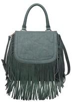 Women's Saddle Top Handle Satchel Handbag with Fringe Detail - Olive
