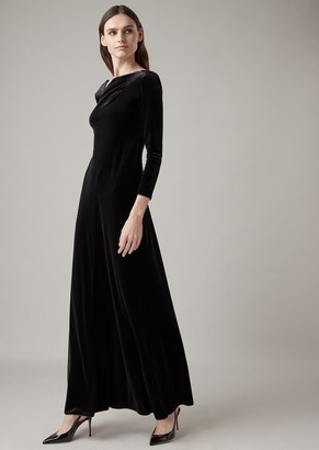 Giorgio Armani Long Dress In Combed Chenille With Asymmetric Neckline