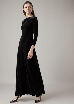Giorgio Armani Long Dress In Combed Chenille With Asymmetric Neckline