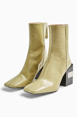Topshop HARRIS Lime Green Leather Block Boots