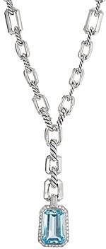 David Yurman Sterling Silver Stax Drop Pendant Necklace with Blue Topaz & Diamonds, 17.5
