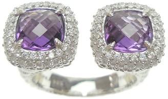 Judith Ripka Sterling Amethyst and Diamonique Cuff Ring