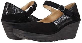 Fly London YUKO082FLY (Black Silky Leather/Croco Print) Women's Boots
