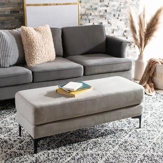 Union Rustic Saddle Bench Upholstery: Linen Light Gray