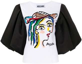 Moschino face embroidered T-shirt