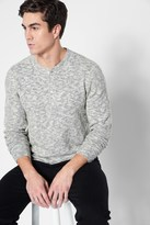 7 For All Mankind Long Sleeve Henley In Grey Oatmeal
