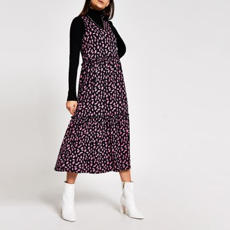 River Island Womens Black spot print V neck midi smock dress