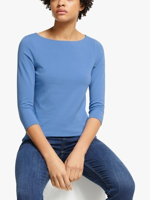 John Lewis & Partners 3/4 Sleeve Double Layer Cotton Stretch Boat Neck T-Shirt, Mid Blue