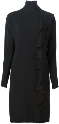 Guy Laroche Pre Owned Ruffle Detail Crepe Dress