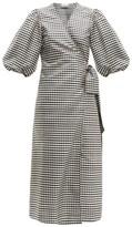 Ganni Gingham Silk-crepe Wrap Dress - Womens - Black White