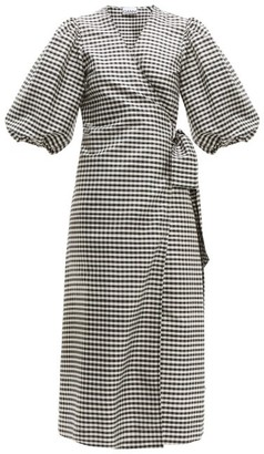 Ganni Gingham Silk-crepe Wrap Dress - Black White