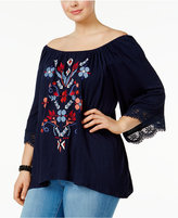 Eyeshadow Trendy Plus Size Embroidered Off-The-Shoulder Top