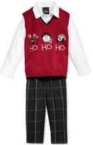 Nautica 3-Pc. Ho Ho Ho Sweater Vest, Shirt & Pants Set, Baby Boys (0-24 months)