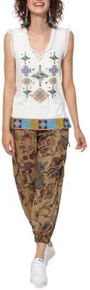 Desigual Martine Printed T-Shirt with Voile Sleeves and V-Neckline