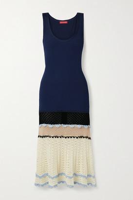 Altuzarra Cordgrass Crochet-paneled Ribbed Jersey Midi Dress - Midnight blue