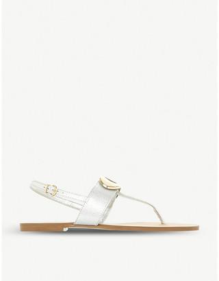 Dune Neona metallic-detail sling-back sandals