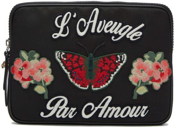 Gucci Black LAveugle Par Amour Pouch