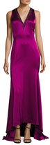 St. John Liquid Satin Sequined Hi-Low Gown
