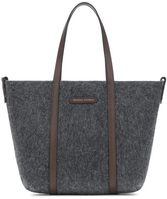 Brunello Cucinelli Leather-trimmed calf hair tote