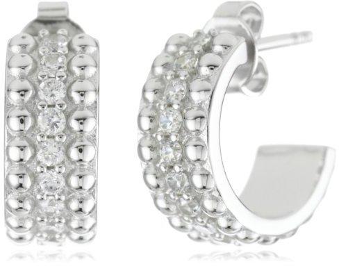 """Esprit Pellet Silver"""" White Cubic Zirconia Drop Earrings"""