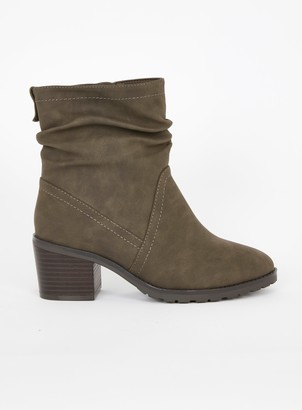 Evans EXTRA WIDE FIT Brown Strap Side Ring Ankle Boots