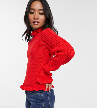 New Look Petite ruffle neck sweater in bright red