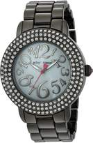Betsey Johnson Women's BJ00306-07 Gun Metal Case and Bracelet Watch