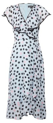Dorothy Perkins Womens Billie & Blossom Black Label Blue Spot Print Ruffle Midi Dress, Blue