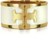 Tory Burch Brass and New Ivory Enamel Raised Logo Wide Cuff Bracelet
