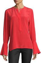 Equipment Kanley Bell-Sleeve Silk Shirt, Red