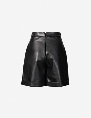 Huishan Zhang Fenella high-rise faux-leather shorts