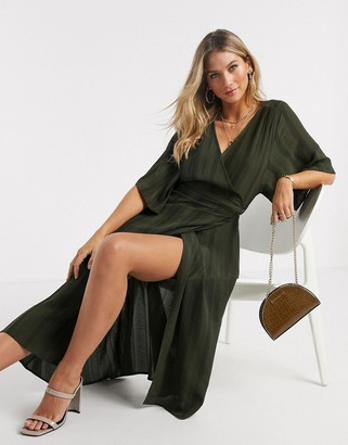 Liquorish kimono sleeve wrap midi dress in khaki