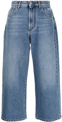 MSGM Logo-Print Cropped Jeans