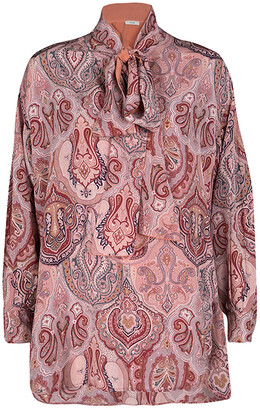 Celine Multicolor Printed Mulberry Silk Neck Tie Detail Long Sleeve High Low Tunic M